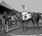 keeneland-library-morgan 1959-08-24-bobby-ussery-on-natalma-with-black-grooms-in-winners-circle-at-the-spinaway-stakes-at-saratoga