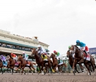 Mar 31, 2018; Hallandale Beach, FL, USA; The field leaves the gate for the start of the 67th running of the Florida Derby at Gulfstream Park. Mandatory Credit: Douglas DeFelice-USA TODAY Sports