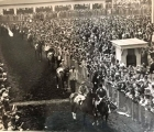 This is a 1938 photo of the post parade at Suffolk Downs for the Massachusetts Handicap which Menow won by over eight lengths with War Admiral finishing off the board